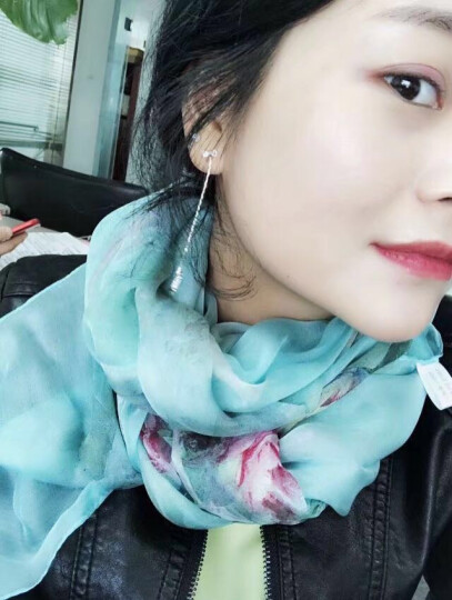 宝盛祥女士真丝丝巾雪纺加长长巾 女款围巾空调披肩 璀璨花朵s9121 晒单图