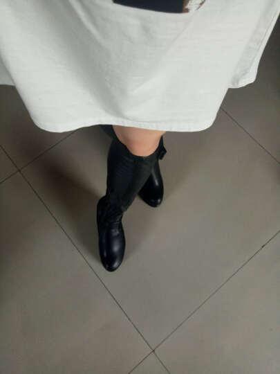 2017新款欧美蝴蝶结内增高坡跟过膝长靴性感夜店女王厚底松糕高筒女靴 黑色 38 晒单图