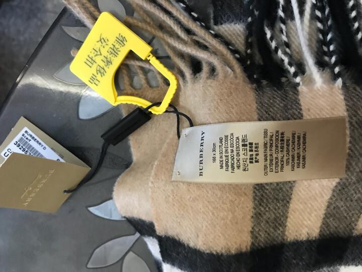 巴宝莉/博柏利Burberry 时尚休闲男女通用羊绒格纹流苏围巾 3895093 经典驼色3929522 168*30 晒单图