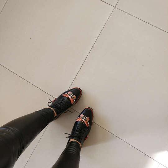 柯玛妮克 新款牛皮坡跟深口女鞋 系带蝴蝶饰防水台厚底鞋松糕底休闲鞋厚底休闲鞋女 黑色 39 晒单图