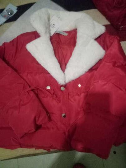 潮至棉服女短款2017冬季新款小棉袄修身大码棉衣羊羔毛面包服外套女 红色 2XL 晒单图