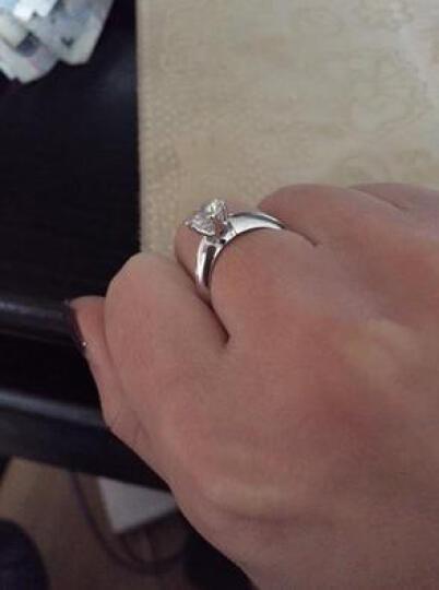 摩卡 经典六爪T款情侣结婚925银镀铂金仿真钻石戒指 女 韩版银饰品 节日礼物 3克拉 三代钻I-J色 晒单图