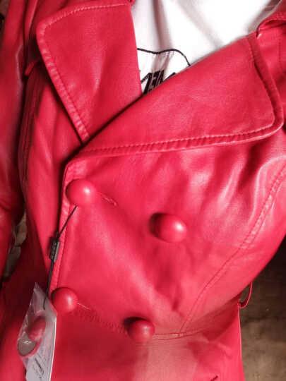 琳清暇2018秋冬新款皮衣女中长款加厚加绒皮风衣机车水洗皮夹克外套女 红色加绒 M 晒单图