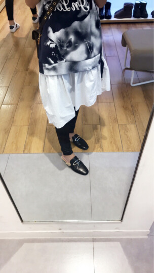 STACCATO/思加图2017年秋季羊皮白色软羊皮毛绒拖鞋9D910CH7 黑色 38 晒单图