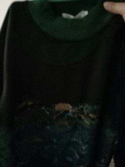 波秀婷加肥加大码女装连衣裙胖妹妹夏装韩版胖人女装显瘦款胖MM蕾丝拼接上衣胖子女装 宽松型 黑色—长袖 4XL建议165-180斤 晒单图