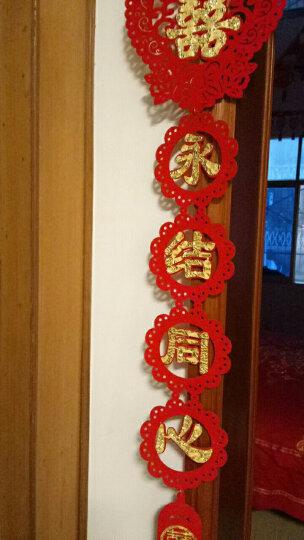 结婚用品 喜字对联门帘门喜摆件挂饰贴金喜字婚房装饰布置创意喜庆浪漫新房婚礼婚庆布置 雕刻植绒贴金对联1.1m 晒单图