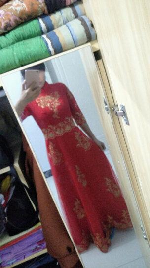 塞德勒敬酒服新娘2019结婚新款秋冬季修身中长款中式立领优雅结婚红色礼服 大红色长款 L 晒单图