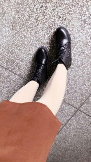 珂卡芙短靴女靴子马丁靴2017秋冬新款铆钉粗跟低跟机车靴商场同款 黑色 37 晒单图