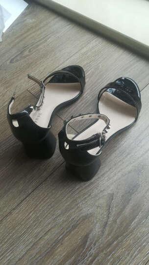 达芙妮品牌粗中高跟凉鞋女夏季新品女鞋铆钉方跟 黑色(鞋码偏大,建议拍小一码) 37 晒单图
