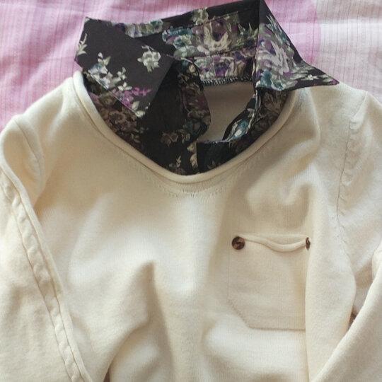 衣百芬 针织衫女套头2017春秋女士新款蕾丝花边假两件套毛衣女短款外套 黑色 晒单图