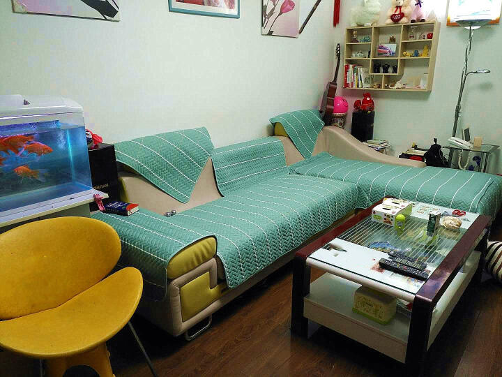 益丽丝北欧简约全棉沙发垫套装四季布艺沙发巾防滑沙发坐垫子沙发罩全包可定制 帆布格-浅蓝 90*240cm单片 晒单图