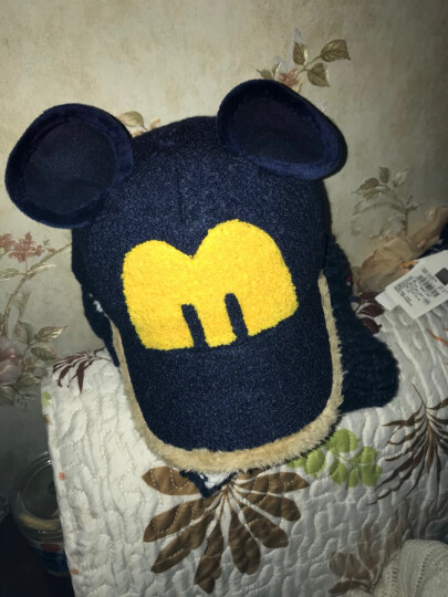诺芝萌 秋冬儿童帽子 男女孩大耳朵呢绒棒球帽 保暖鸭舌帽子 NM227 藏青色 可调节 晒单图
