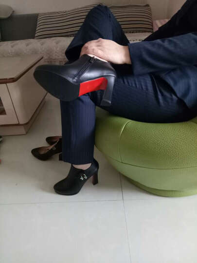 千娇蝶 高跟鞋女2017春秋季女鞋新品新款单鞋粗跟韩版时尚水钻皮鞋女深口防水台女鞋子 红色 40 晒单图