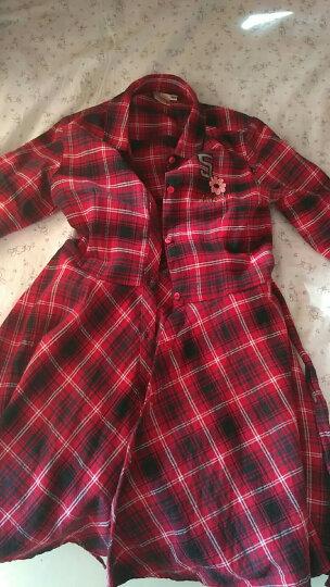 女童格子连衣裙秋新款中大童装衬衫连身裙大摆收腰儿童裙4306 红色格纹 120 晒单图