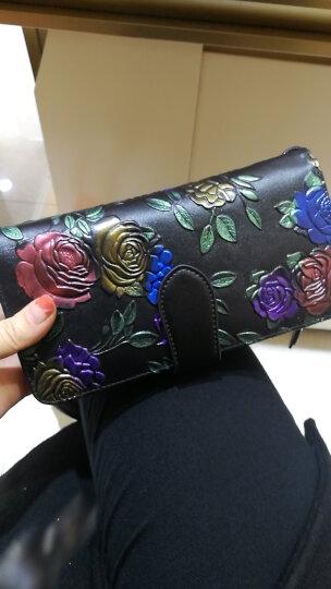 夏茉钱包女长款 女式皮夹新款日韩版大容量卡包个性拉链钱夹 玫瑰花牛皮手包潮女士拉链包 W60-双盖-银玫瑰 晒单图