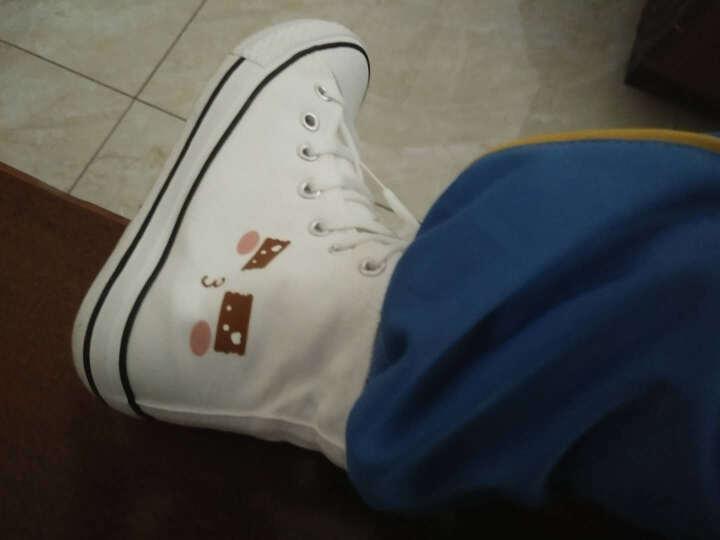 帆布鞋学生手绘运动鞋高帮童鞋儿童帆布鞋男童女童春夏秋儿童鞋白色板鞋休闲鞋宝宝布鞋子 中帮白海绵宝宝 27 晒单图