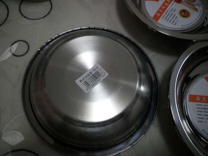 唐易 加厚不锈钢餐盘餐盘果盘点心托盘碟子 宽边多用圆盘子 直径18cm(001) 晒单图