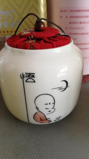 怀樽 茶叶罐陶瓷小号布盖白瓷罐 醒茶存茶储茶储物密封罐 红茶绿茶普洱通用便携特价 款一 悟 红盖 晒单图