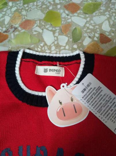 小猪班纳(PEPCO)儿童毛衣 男童休闲套头毛衣中大童童装圆领长袖衫 115441235 浅花灰 140 晒单图