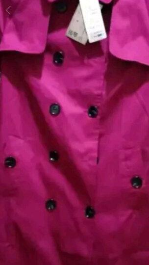 佑琴风衣女中长款2017春秋季新款女装韩版修身时尚纯色女式翻领外套 卡其色 XXXL 晒单图