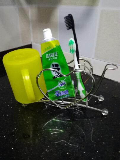 欧润哲 心形不锈钢牙刷架牙具筒刮胡刀剃须刀架 浴室牙膏梳子收纳筒电动牙刷架 牙刷架+2方杯+棉签盒 晒单图