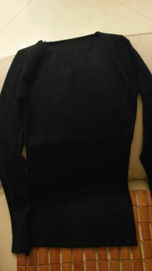 郎佰婉针织衫女2017秋冬新品韩版中长款套头毛衣女宽松大码加厚打底衫 深灰色 XL 晒单图