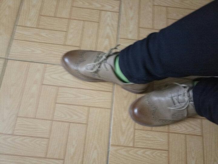 圣大保罗女鞋 英伦风布洛克小皮鞋百搭休闲鞋女粗跟单鞋  卡其色 37 晒单图