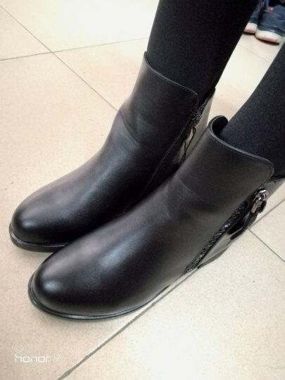 皇美婷短靴女加绒粗跟女靴子2019冬季新款中跟大码女鞋韩版时尚短筒马丁靴女 1522酒红色 36 晒单图