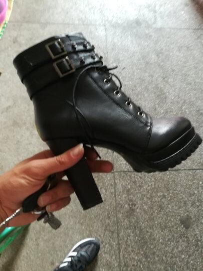 古奇天伦粗跟女靴马丁靴潮女短靴秋冬季2018新款短筒靴子高跟女鞋 8102黑色 37 晒单图