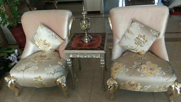 美煜 后现代轻奢沙发 欧式单人沙发 美容院沙发椅 客厅三人沙发组合 新古典休闲桌椅三件套FS2055 纯咖啡色+金色脚 脚踏(不能单独购买) 晒单图
