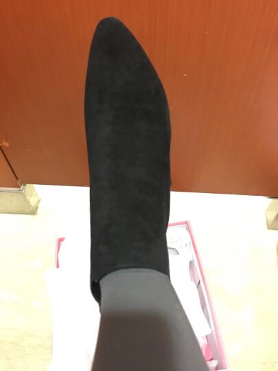 卓诗尼2017秋冬新款通勤高跟短靴尖头粗跟裸靴加绒女士切尔西靴子196720696 黑色 36 晒单图