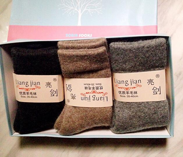 3双装 冬季女士加厚加绒羊毛袜子羊绒袜子厚特厚羊毛毛圈袜毛巾袜拉毛袜子拉绒保暖袜羊毛中筒袜 3双装(蓝精灵) 均码 晒单图