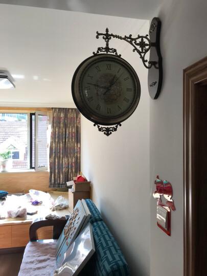 凯瑞蒂赫(kaiRuiDiHe) 欧式客厅两面挂表大号美式实木金属双面挂钟静音创意家用墙饰双面钟表 15020 晒单图