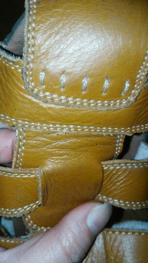 彩虹草(rainbow grass)儿童凉鞋真牛皮男童鞋女童鞋 牛筋软底1-16岁学步鞋 黄色 29码/内长18cm 晒单图