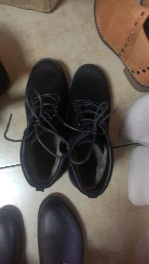 卓诗尼2017冬季新款绒面擦色短靴女欧美潮流系带工装靴百搭马丁靴146754326 黄棕色 36 晒单图