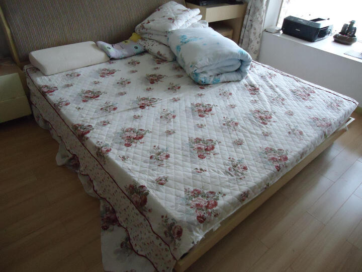 天黑黑家纺 全纯棉加厚床单单件床笠床裙床罩床垫罩套 圈点生活 150*200cm 晒单图