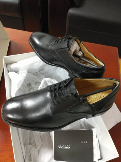 GEOX/健乐士男鞋2020春夏新款商务正装皮鞋透气鞋德比鞋U2257V 黑色C9999 43 晒单图
