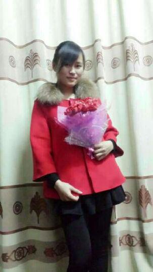 【AOTUN】冬季加厚斗篷毛呢大衣女短款外套韩版大毛领呢子大衣女装外套 红色 L 晒单图