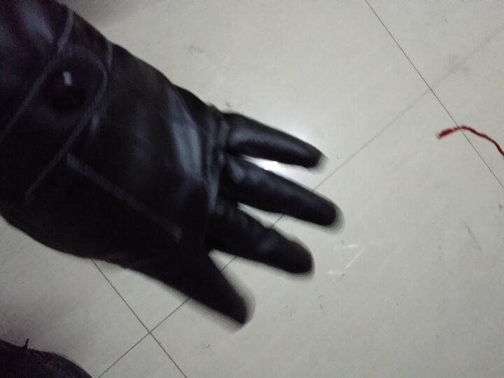 诗兰伦萨男士手套秋冬季保暖防水防风加绒加厚触屏真皮手套男冬骑行摩托车防寒手套 黑色-加绒 晒单图