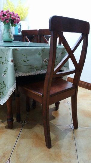 嘉嘉尚彩 美式乡村餐椅 实木餐椅复古做旧简约欧式家具仿古书房椅子 尖角餐椅(硬座) 深色 晒单图