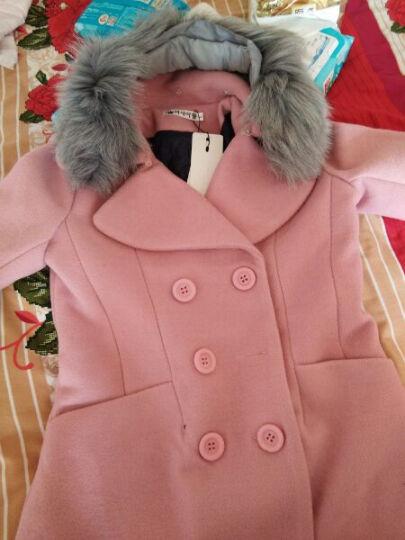 天地果 2017冬装装新款毛呢大衣女长款加厚呢外套真狐狸毛领 皮粉不加毛领 L 晒单图