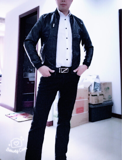 范华尼 夹克男2018秋季新款皮夹克青年韩版修身棒球领外套冬装男士休闲皮衣潮 黑色 XL 晒单图