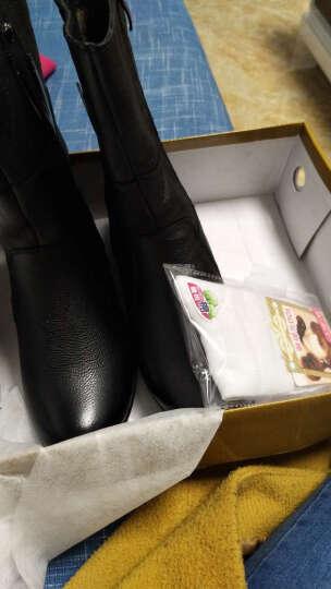 莎美茜女靴真皮马丁靴女士加绒保暖棉鞋舒适妈妈鞋欧美风潮流中筒靴子女 黑色绒里 39 晒单图