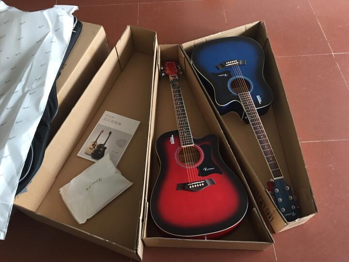 卢森(Rosen) 卢森Rosen吉他民谣木吉它40寸41寸初学者乐器guitar R-135蓝色 41寸 晒单图