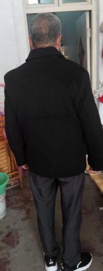 万龙发中老年夹克男外套翻领厚款毛呢外套男短款爸爸秋冬装 深蓝色 175/L 晒单图
