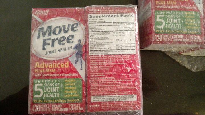 美国旭福Schiff MoveFree盐酸氨基葡萄糖维骨力片氨糖软骨素骨骼疼痛养护 白盒白瓶60粒X2组高浓缩骨胶原蛋白 晒单图
