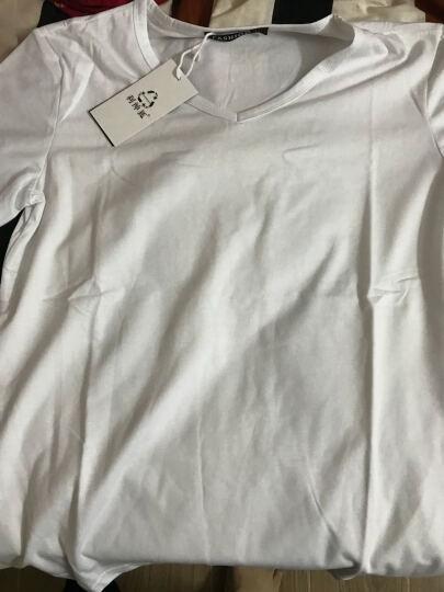 利绅狐短袖T恤男2021夏季纯色半截袖小汗衫V领半袖上衣服男装打底衫棉体恤 1065白色 L/170 晒单图