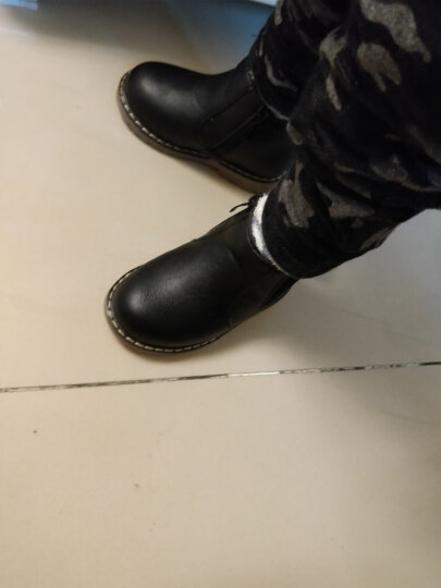 幼时代儿童棉靴2018春季新款童鞋棉鞋男童靴子牛皮女童雪地靴加绒保暖学生真皮马丁靴皮靴 黑色单鞋 22码/内长14cm 晒单图