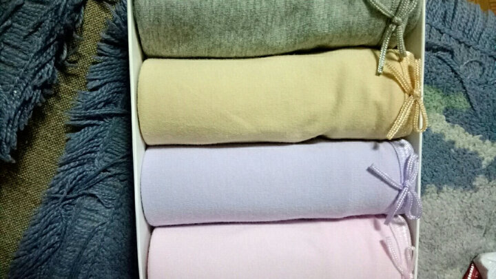 蝶安芬正品纯棉女士内裤纯色多色中腰蝴蝶结4色4条礼盒装女士小平角裤(M-XXL)大码全棉 4条装礼盒C L 晒单图