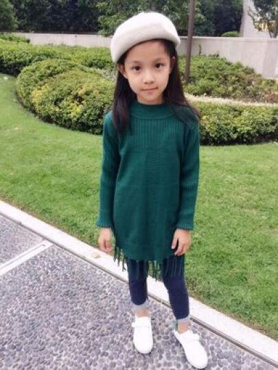 女童毛衣儿童高领加绒套头中长款打底衫针织裙童装加厚毛线衣中大童5-15岁 花边领米黄(不加绒) 160建议身高150-155cm 晒单图